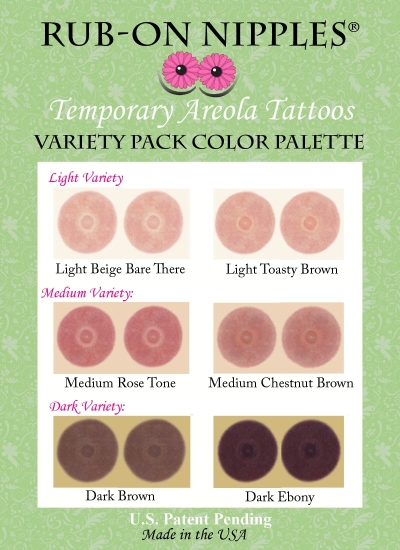 Temporary nipple tattoos new larger variety packs cancer for Tattooed nipples after reconstruction